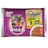 Whiskas Pure Delight in Gelatina Assortito Junior, Multi Gusto, 4 x 85 g, Cibo per Gatto 0-12 Mesi, 13 Confezioni (52 Bustine in Totale)