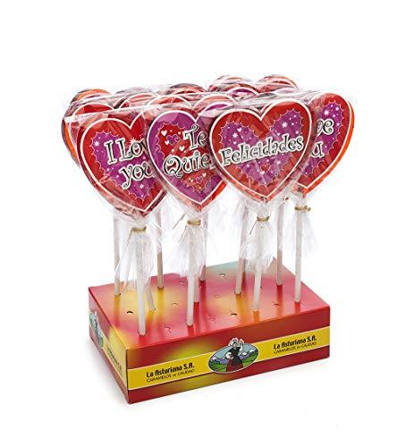 Piruleta Artesana La Asturiana - Piruletas 100% Artesanas Grandes en Forma de Corazón con Frases de Amor y Especiales - 12 unidades x 70 gramos