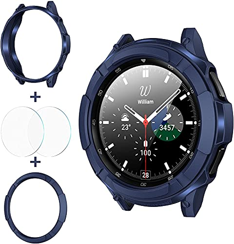 wlooo 3 in 1 Zubehör für Samsung Galaxy Watch 4 Classic 42mm 46mm, 1 TPU Schutzhülle + 2 Panzerglas Schutzfolie + 1 Lünette Ring Bezel Styling Schutz Kratzfest für Galaxy Watch4 (Blau, 46mm)
