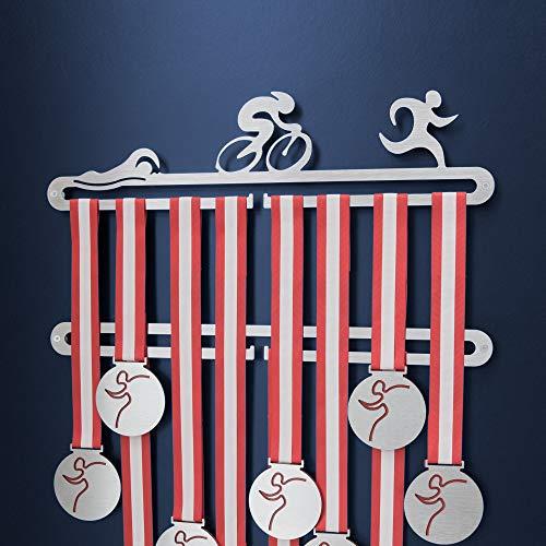 Porta medaglie Triathlon Doppio - Medagliere da Parete Triatleta inox spazzolato - Triathlete Medal Display Holder