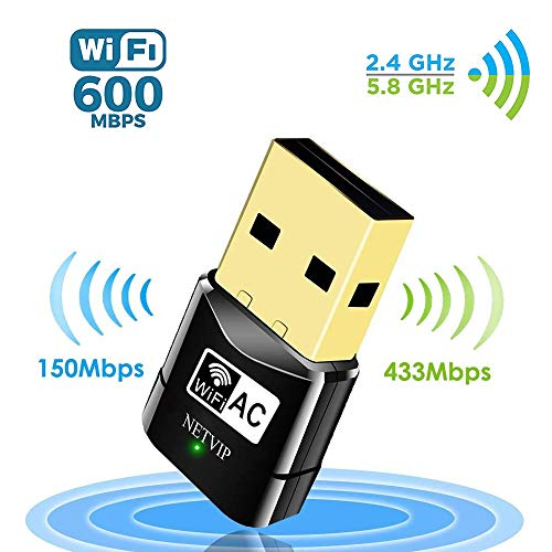 NETVIP Wireless WLAN Adapter AC600 USB WLAN Stick für PC Dual Band (867Mbit/s (5GHz), 400Mbit/s (2,4GHz), WiFi Dongles Größe WPS-fähig Unterstützt Windows 2000/XP/Vista/7/8/10, Mac OS X10.4-10.11