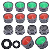 ManLee 40PCS Faucet Aerators Replacement Parts Bathroom Sink Faucet Aerator with Washer Female Kitchen Sink Aerator Flow Retrictor Insert Faucet Aerators for Bathroom Kitchen Red and Green