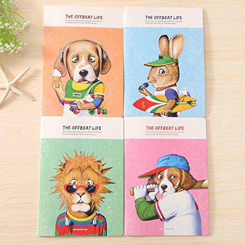 Geschenken UK® Grappige Dieren Sport Dag Hond Konijn Leeuw Leuke B5 Grote Notepads Notepads Rabbit With Skateboard