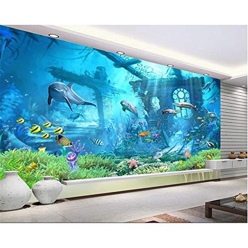 Shuangklei Mundo Submarino Delfín Del Océano Fondo De Pared Fondo De Pantalla 3D Habitación Para Niños Papel Pintado Decorado Para Paredes 3 D-200X140Cm