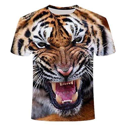 Animal Funny Lion T-Shirt Hombres y Mujeres Verano 3D Impresión León Chica Tigre Camiseta