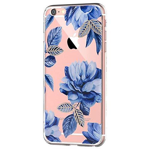 Carcasa compatible / repuesto para iPhone 6S/6, transparente, silicona flexible antigolpes, TPU de protección, funda de flores y cactus para Apple iPhone 6 6S 4.7, color azul