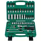 SSCYHT Herramientas de reparación de automóviles Juego de Herramientas manuales Juego de Herramientas de reparación básica Juego de Llaves de Vaso,53 Piece Set