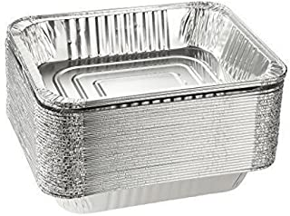 Half Size Disposable Aluminum Foil Steam Table Pan Takeout Lasagna Tray (5, 9 X 13 Half Size Heavy-Duty Tray)