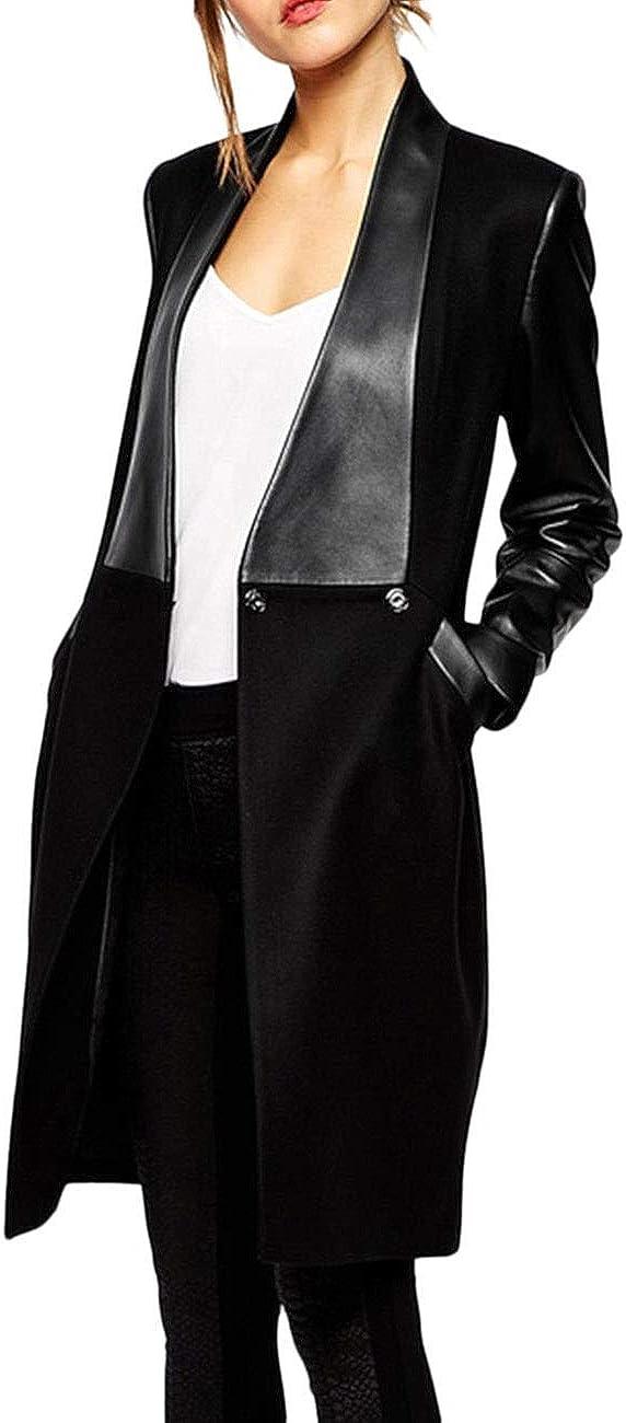 xxxiticat Women's Double Breasted Faux Leather PU Coat Patchwork Splice Lapel Panel Trench Woolen Jacket Cardigan