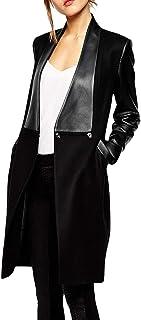 xxxiticat چرم زنانه دو نفره Faux Leat PU Coat Patchwork Splice Lapel Panel Trench Woollen Jacket Jacket