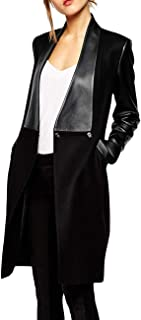 Women's Double Breasted Faux Leather PU Coat Patchwork Splice Lapel Panel Trench Woolen Jacket Cardigan
