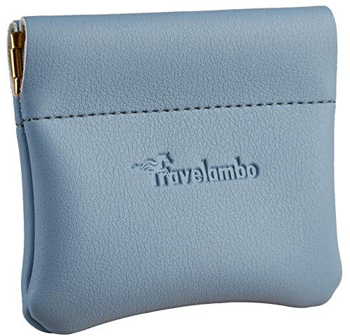 Travelambo Leather Squeeze Coin Purse Pouch Change Holder For Men & Women (Access Blue Classic)