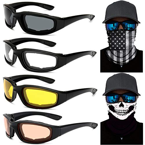 Peicees 4 Dirt Bike Motorcycle Goggles UV Protection Dustproof Windproof Safety Glasses with 2 Skull...