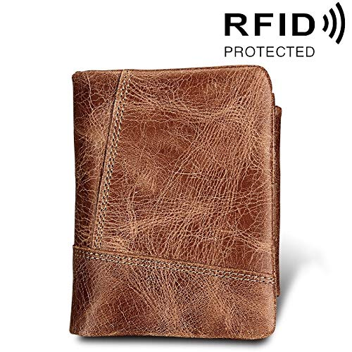 Portefeuille echt rundleer Crazy Horse textuur rits 3-vouwen kortsluiting Art kaarthouder map RFID Blocking portemonnee kaartzak beschermt tegen mannen Maat: 12 * 9,5 * 4 cm