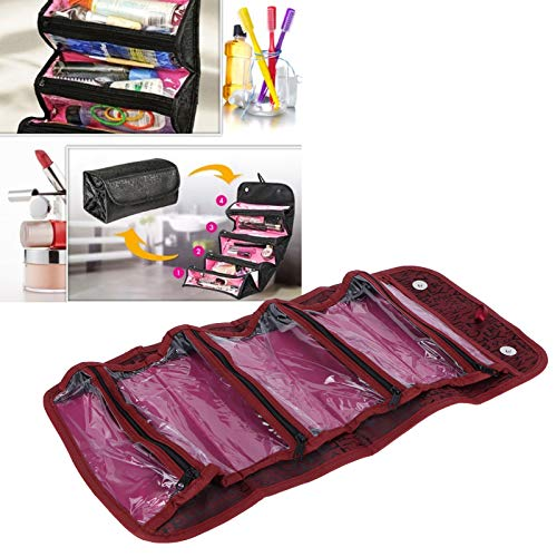 Neceser, estuche de maquillaje, con cremalleras independientes Estuche de cosméticos de belleza portátil para mujeres para niñas Organizador de almacenamiento Regalo perfecto(red)