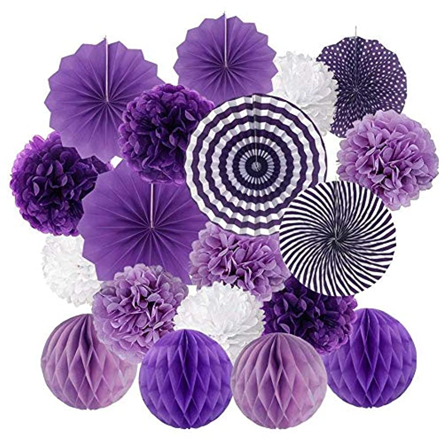 Axgo Deco Accessories Paper Poms Flowers Fan and Honeycomb Balls for Birthday Party Wedding Festival Christmas Decorations, Purple