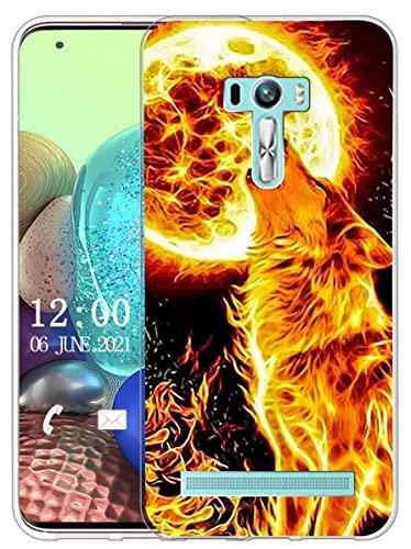 Sunrive Kompatibel mit Asus Zenfone Selfie ZD551KL Hülle Silikon, Transparent Handyhülle Schutzhülle Etui Hülle (X Wolf)+Gratis Universal Eingabestift MEHRWEG