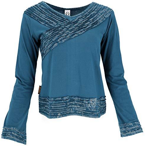 GURU SHOP Camiseta de manga larga elegante para mujer, algodón, jersey, manga larga y sudaderas alternativas petróleo XL