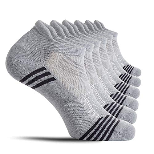 CelerSport Ankle Athletic Running Socks Low Cut Tab Sport Socks for Men and Women, Grey, Medium(6 Pair Pack)