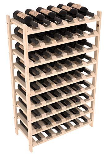 Wine Racks America Pine 54 Bottle Stacking Wine Rack Unstained