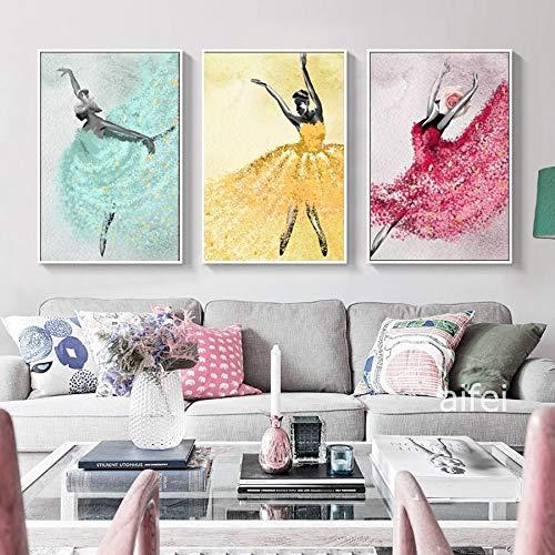 tzxdbh Cartel Abstracto nórdico Belleza Bailarina Arte Pintura al óleo Moderna decoración del hogar Lienzo sin Marco Cuadros de Pared para Sala de Estar