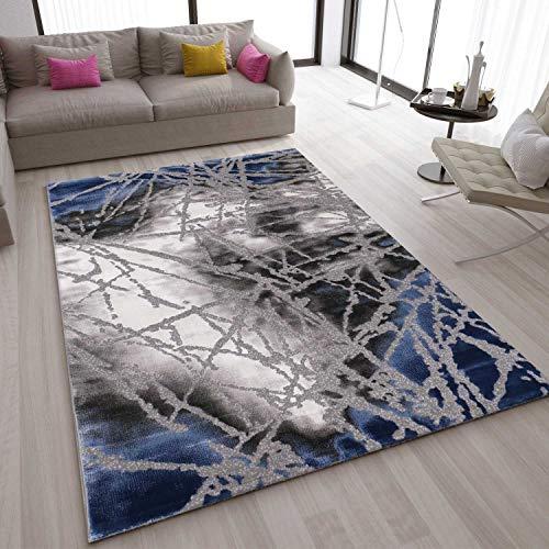VIMODA Teppich Abstrakt Used Optik in Blau Grau, Maße:160x230 cm