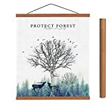 Arthome - Marco para póster de madera de teca en blanco o negro, marco magnético de madera claro, kit para colgar póster para impresión artística o lienzo, madera, Teca., 100 cm