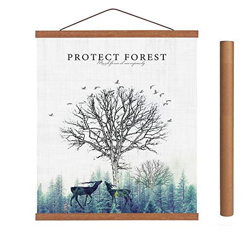 Arthome - Marco para póster de madera de teca en blanco o negro, marco magnético de madera claro, kit para colgar póster para impresión artística o lienzo, Teca., 84cm
