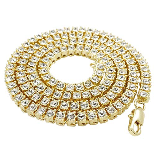 NIV'S BLING Tennis Chain for Men and Women – 14K Canary Gold Plated Iced Lab Diamond 1 Row Necklace