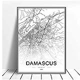 QQWER Syrien Damaskus Karte Poster Moderne Kunst Drucke