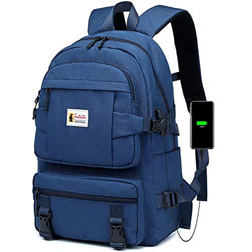 Travistar Rucksack Damen Schulrucksack Mädchen Teenager mit USB Ladeanschluss, Laptop Rucksack Daypack für 15,6 Zoll Laptop, wasserdichte Nylon Tasche für Universität Schule City Reisen