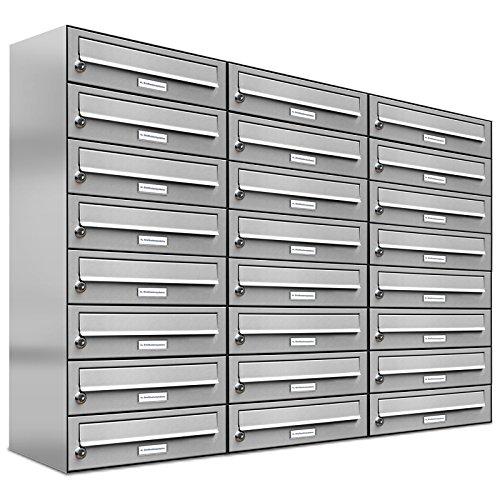 AL Briefkastensysteme 24er Briefkastenanlage Edelstahl, Premium Briefkasten DIN A4, 24 Fach Postkasten modern Aufputz