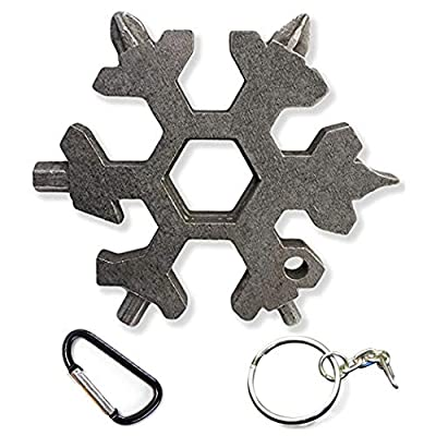 The Latest Snowflake Tool,19-in-1 Snowflake Multi Tool, Incredible Tool, Portable Stainless Steel Keychain Screwdriver Bottle Opener Snowflake Multitool for Outdoor Enthusiast and Men's Gift (Black)