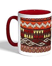 Traditional decoration Printed Coffee Mug, Red Color