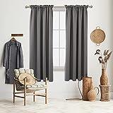 Deconovo Light Grey Blackout Curtains Rod Pocket Curtain Panels Light Blocking Curtains for Living Room 52W x 72L Inch 2 Panels
