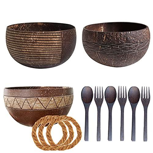 Coconut Bowl Set 3 Durable & Lightweight Vegan Organic Salad Cereal Smoothie Buddha Acai Bowl for Kitchen, Dining