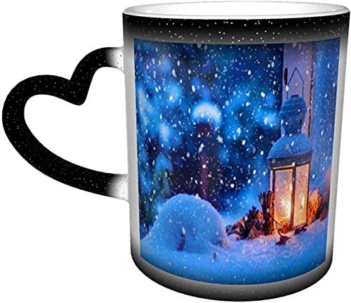 Navidad Invierno Nieve Lámpara de mano Taza mágica sensible al calor que cambia de color en el cielo Arte divertido Tazas de café Regalos personalizados para amantes de la familia Amigos-Neg