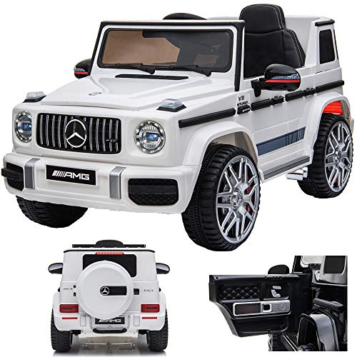 SIMRON Mercedes G 63 G63 AMG V8 Biturbo Kinderauto Kinderfahrzeug Kinder Elektroauto Jeep, SUV, Geländewagen, 12V / 2X Motoren (Weiss)