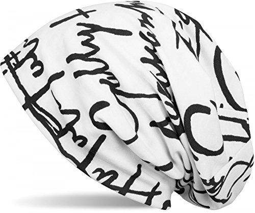 styleBREAKER Beanie Mütze mit All Over Zeichen Print Muster, Slouch Longbeanie, Unisex 04024075, Farbe:Weiß