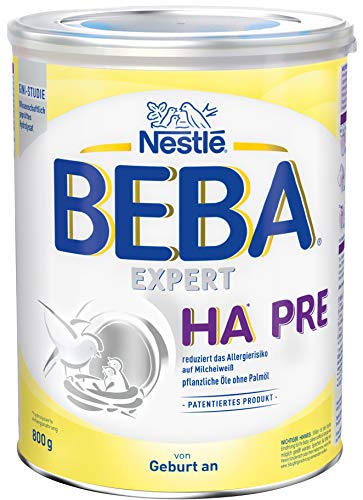 Nestlé BEBA EXPERT HA PRE Hydrolysierte Anfangsnahrung, Säuglingsnahrung von Geburt an, 1er Pack (1 x 800 g)