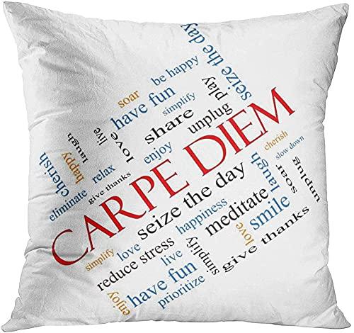 Throw Pillow Cover Carpe Diem Word Cloud Concepto Angulado Cherish Day Down Elimina Cómoda Impresión Sala de Estar Coche Sofá Dormitorio Funda de Almohada de poliéster Decoración del hogar Funda de c