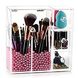 Makeup Brush Holder Organizer, HBlife Acrylic Makeup Organizer with 2 Brush Holders