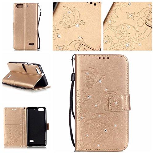 Guran® Funda de cuero PU para Huawei G Play Mini Smartphone Función de Soporte con Ranura para Tarjetas Flip Case Cover de Mariposa con Cristal Artificial Brillante - Oro