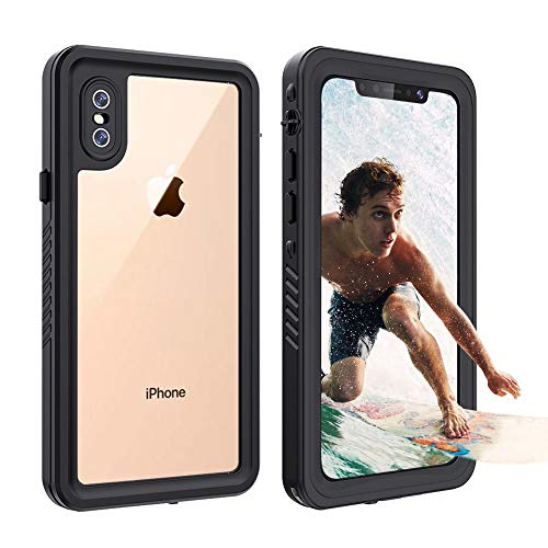iPhone XS MAX 防水ケース 耐衝撃 頑丈 防雪 防塵 海 完全防水 IP68米軍MIL規格 無線充電サポート フェイス認証 衝撃吸収 操作便利 アイフォン XS MAX ケース アウトドア 保護タッチパネルスクリーン&ストラップ付き (iphone Xs Max6.5インチ)