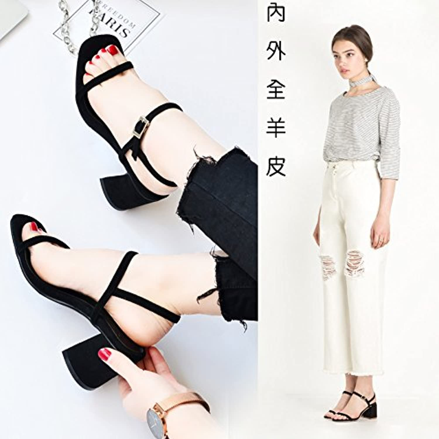 2017, Spring and Summer New Word Buckle, with The Whole Sheepskin, Leather Exposed Toe coarse Heel Sandals, Female Summer Tide