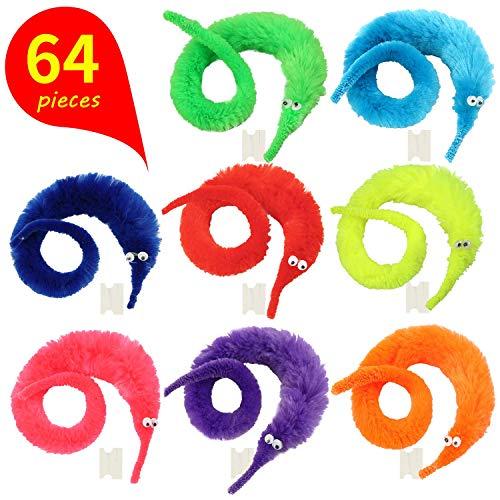 GLOBAL GOLDEN 64 Stück Magic Worm Toys, Magic Wiggle Twisty Fuzzy Wurm Trick Toy Party Gefälligkeiten Karneval Party Gefälligkeiten (8 Farben)