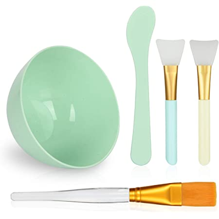 Face Mask Mixing Bowl Set, Plazuria 5 in 1 DIY Facemask Mixing Tool Kit with Facial Mask Bowl Stick Spatula Silicone Face Mask Brush & Premium Soft Face Brushes