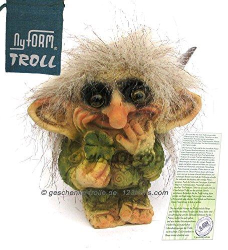 geschenke-trolle.de Glückstroll mit Kleeblatt, NyForm Troll im Yutesack
