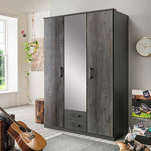lifestyle4living Kleiderschrank mit Spiegel-Tür, Graphit-Grau, 135 cm | Drehtürenschrank 3-türig mit 2 Schubladen im Industrial Stil