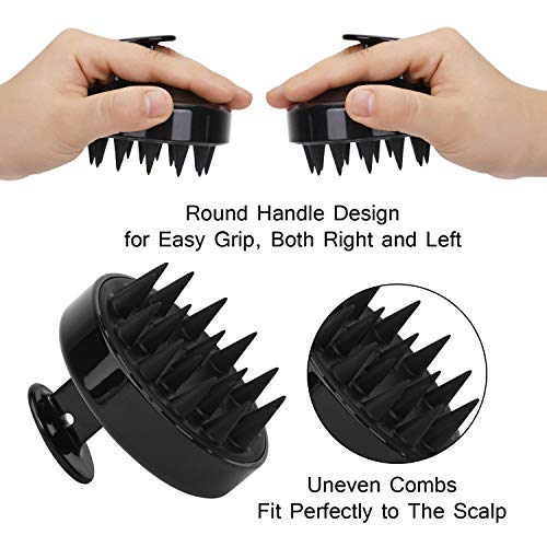 Hair Scalp Massager Shampoo Brush, FReatech Manual Head Scalp Massage Brush for Scalp Care Hair Cleaning Shower, Soft Silicone Bristles for Various Scalp and Hair Types (Black)
